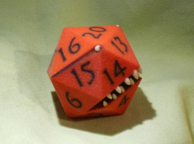 D20 Red Monster Figurine 3d printed Top and side