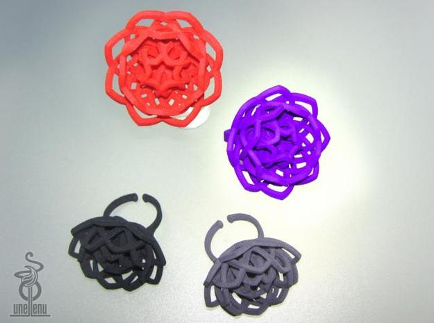 Transcendence Lotus Ring, adjustable size medium 3d printed