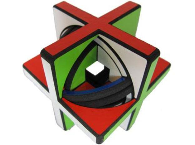 Concentric Cube 3d printed Three rotating layers