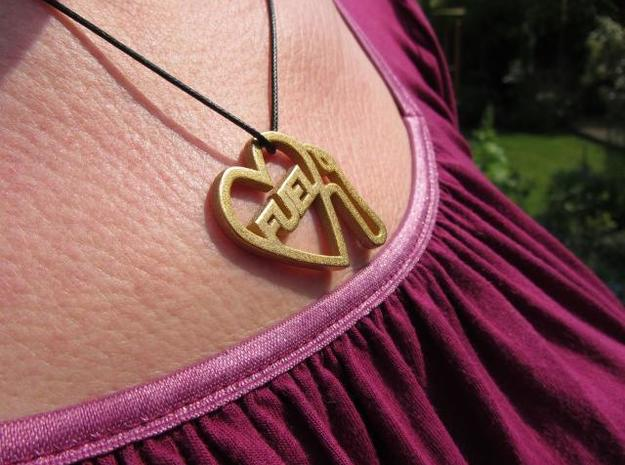 Love Pump Pendant 3d printed gold plate glossy