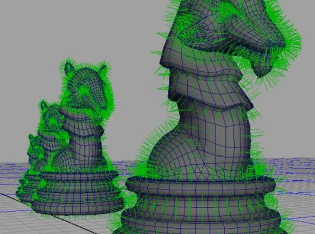 Wolf Chess Pawn - large 3d printed In the Maya workspace