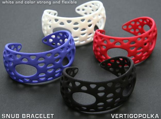 Snub Bracelet 3d printed white & color strong and flexible
