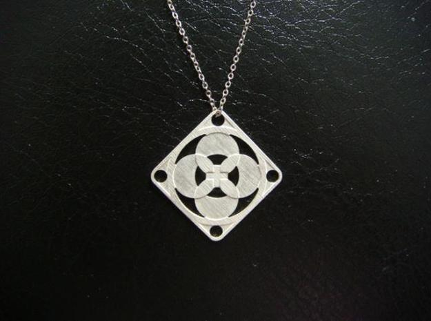 Square Pendant or Charm - Four Petals Bound 3d printed Silver - Chain not included