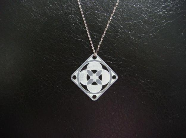 Square Pendant or Charm - Four Petals Bound 3d printed FUD - Chain not included