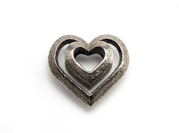 Heart Pendant 3d printed Steinless Steel