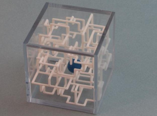 """Bare Bones"" - 3D Rolling Ball Maze in Clear Case( 3d printed Ball inside the Maze"