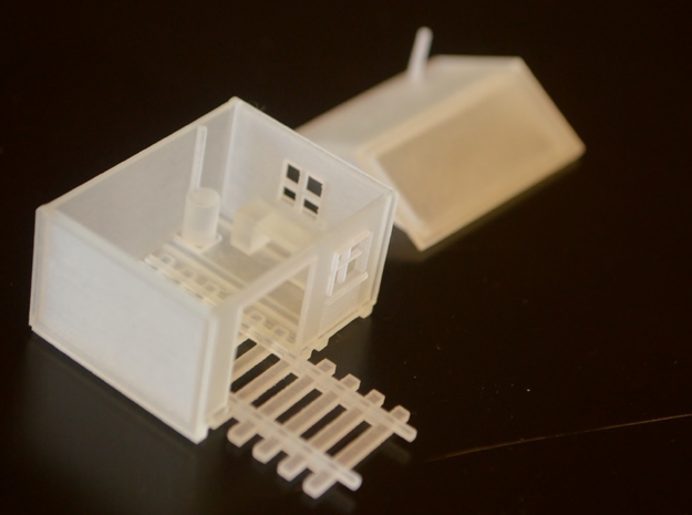 N-Scale Speeder Shed 3d printed Production Sample (Showing Interior)
