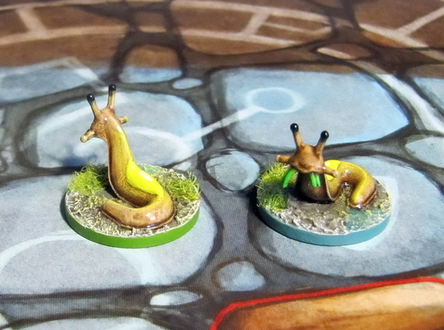 Slugs (4 pcs) 3d printed Models hand-painted, after a quick sanding (game board with flagstones copyright Plaid Hat Games).
