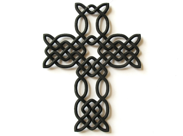 Celtic knot cross 3d printed Printed in black strong and flexible plastic