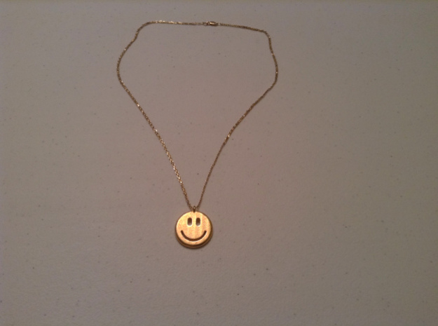 Happy Face Emoticon Charm Smiley 3d printed Full view with 14k gold chain.