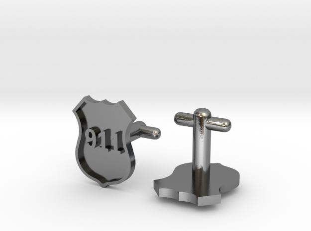 911 Police Shield Cufflinks Silver/Brass/bronze 3d printed