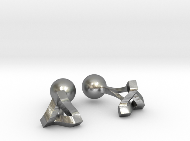 Penrose Triangle Cufflinks 3d printed Detail [Polished Silver]