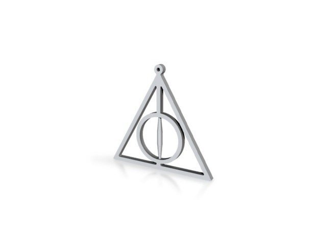 deathly hallows harry potter pendant no spin 3d printed