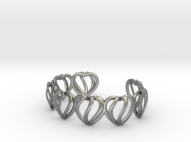 Heart Cage Bracelet (8 small hearts) 3d printed