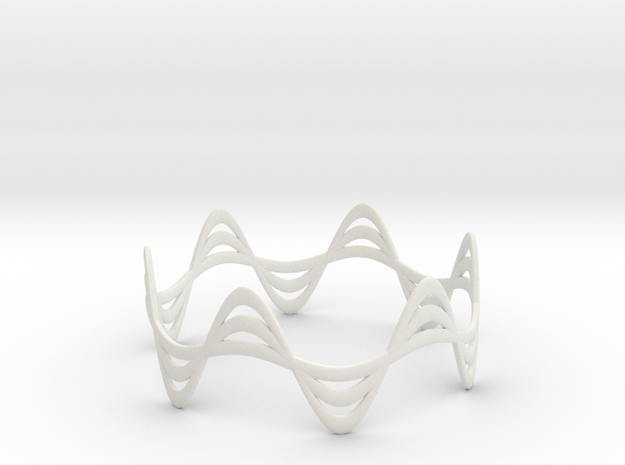 Triple Wave Bracelet (67mm) 3d printed in black strong and flexible