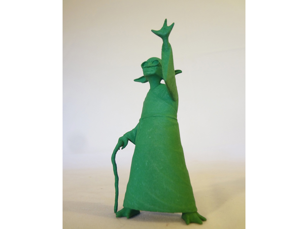 YoGandhi 3 (non-posable) 3d printed Yoda Gandhi Star Wars printed polished solid green.