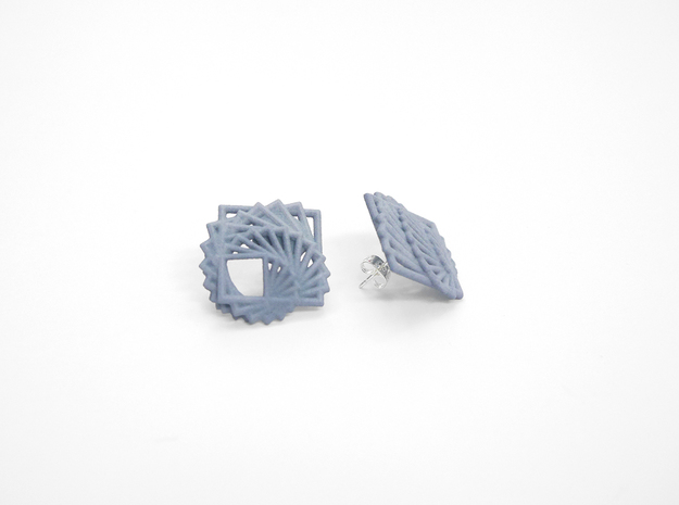 Arithmetic Earrings (Studs) 3d printed Custom Dyed Color (Azurite)