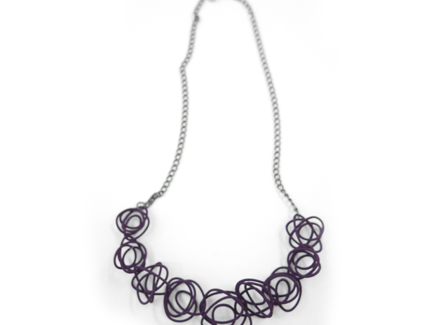 Sprouted Spirals Necklace (Chain) 3d printed Custom Dyed Colors (Midnight)