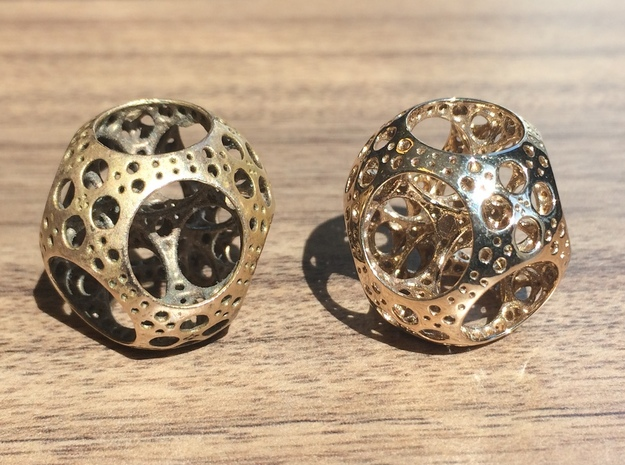 Apollonian Octahedron Mini 3d printed Raw bronze vs Polished bronze