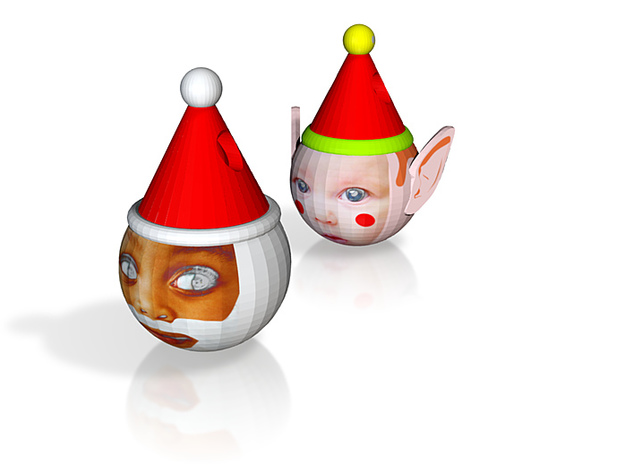 FatherChris & Elf baubles twin pack (personalised) 3d printed