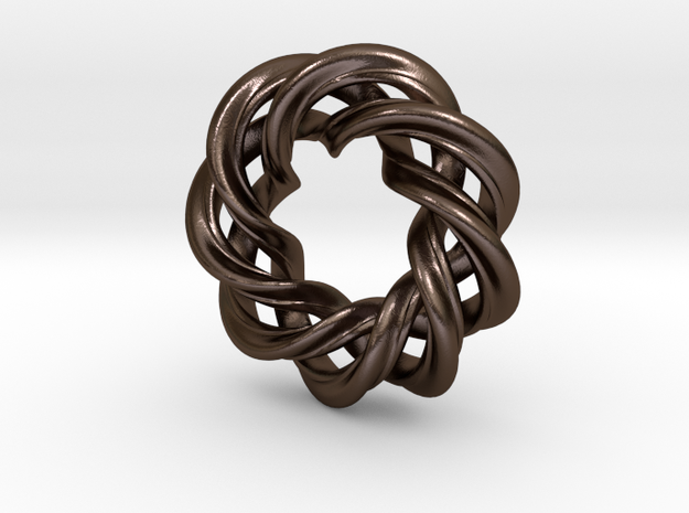 3 strand right hand mobius spiral charm bead 3d printed
