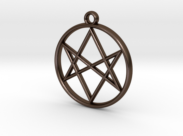 Unicursal Hexagram Pendant 3d printed Photo of Stainless Steel pendant on a chain.