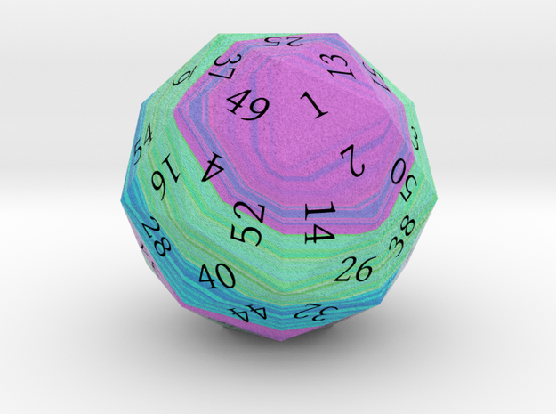 Purple, Green, and Blue d60 3d printed