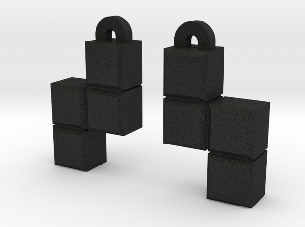 Video Game block earrings 3d printed