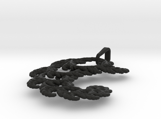 4.5cm Fractal lace, intricate spirals pendant 3d printed
