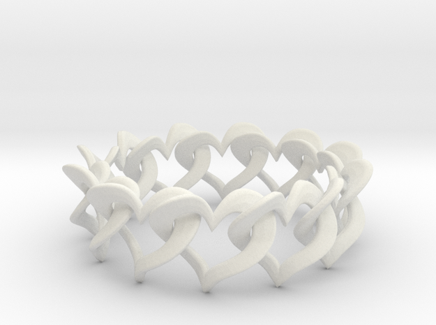 12 Hearts Chain Bracelet 3d printed
