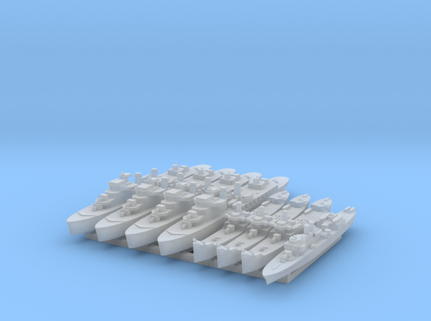 French Colonial Fleet 1:1800 (8 ships) 3d printed