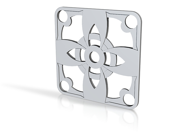 Square Pendant or Charm - Four Petal Flower 3d printed