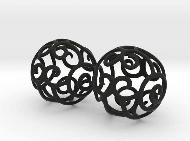 Filigree Sphere EARRINGS 3d printed