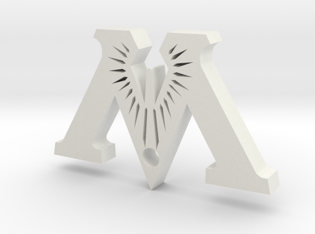 """Badge """"M"""" (Exhibition) 3d printed"""