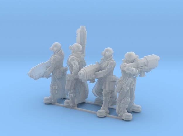 Female Stealth Gang with Slug Rifles 3d printed This is a 3d render, not a photograph of the model printed in the material.
