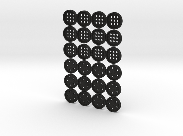 "tiny (5/16"") buttons (12 star, 12 alphabet) 3d printed"