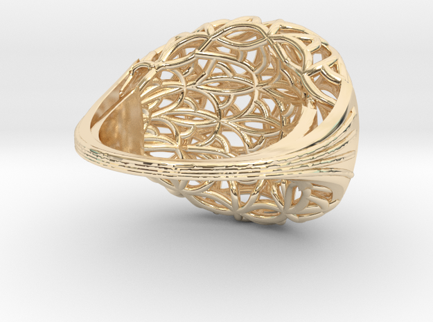 Leaf Ring size 7 (europ 55) 3d printed