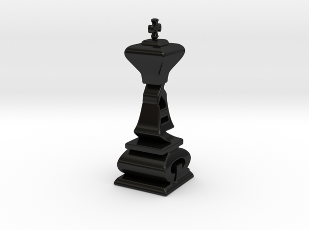 Over Sized Typographical King Chess Piece 3d printed