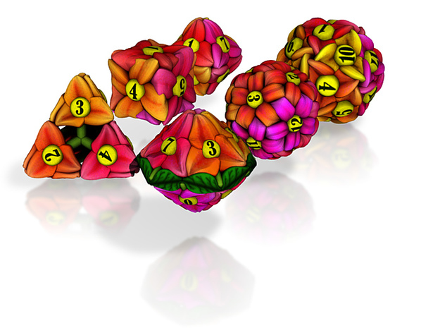Flower Dice (Small) 3d printed