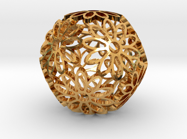 Dodeca Flower (small, gold) 3d printed