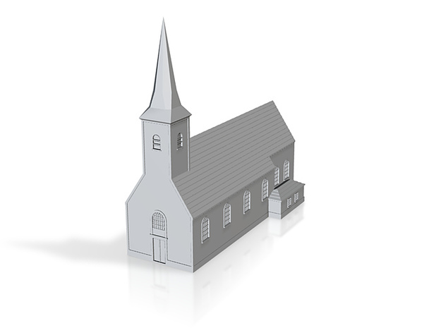 1/350 Village Church 3d printed