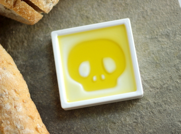 Skull Dipping Bowl 3d printed still fun with just olive oil, or add spices for texture
