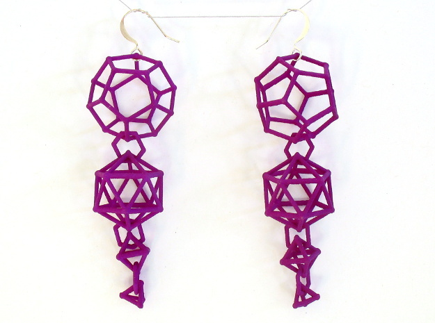 Platonic Progression Earrings - Clean 3d printed Printed in purple strong and flexible, with earwires added