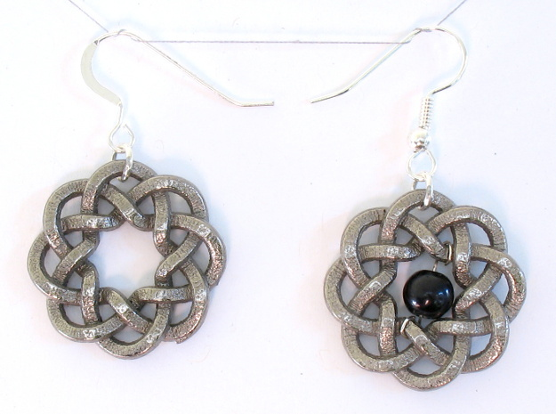 Woven Starburst Earrings - Small 3d printed Printed in nickel steel, with earring findings added