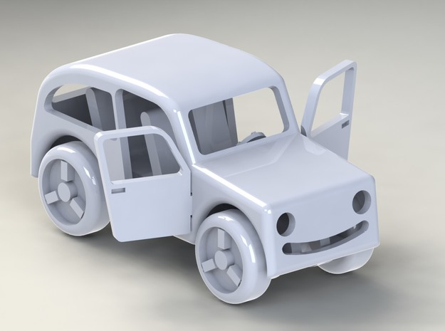 Micro car with open doors and turning wheels 3d printed Designed and rendered in SolidWorks