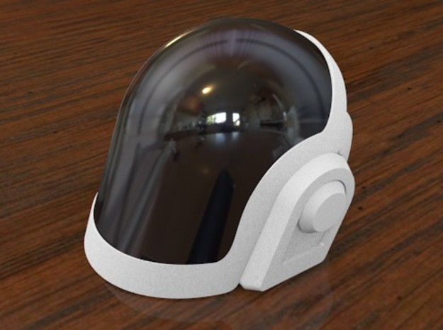 Daft Punk Mini Helmet Kit - Guy-Manuel 3d printed The visor pictured is painted shiny black but replica molds can be reproduced using silicone and clear resin in order to have the translucent look.