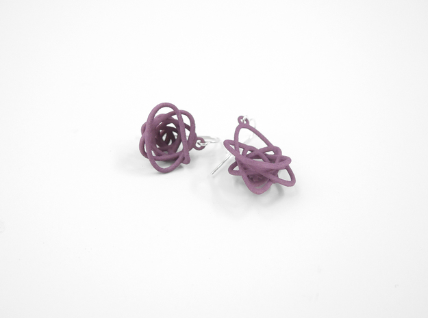 Sprouted Spiral Earrings 3d printed Wisteria Nylon (Custom Dyed Color)