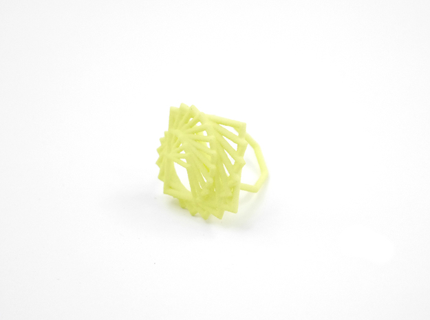 Arithmetic Ring (US Size 8) 3d printed Key Lime Nylon (Custom Dyed Color)