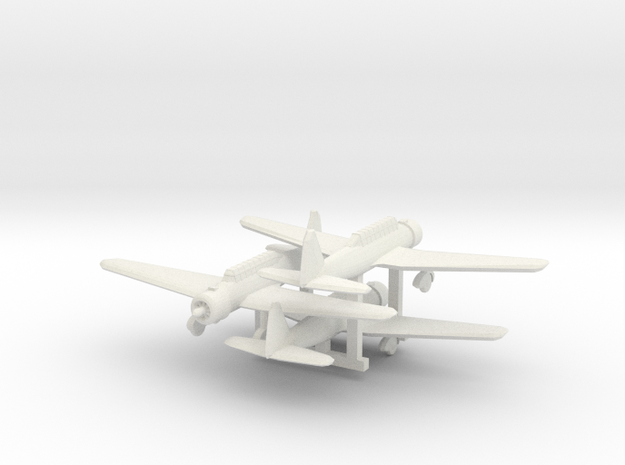 "1/300 Mitsubishi Ki30 ""Ann"" 3d printed Painted models, propeller disks added from clear sheet."