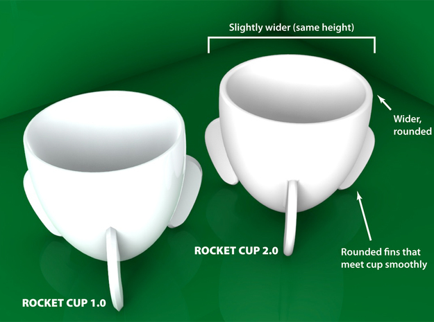 Rocket Espresso Cup 3d printed A side-by-side comparison of the small changes made in Version 2.0 of the cup.